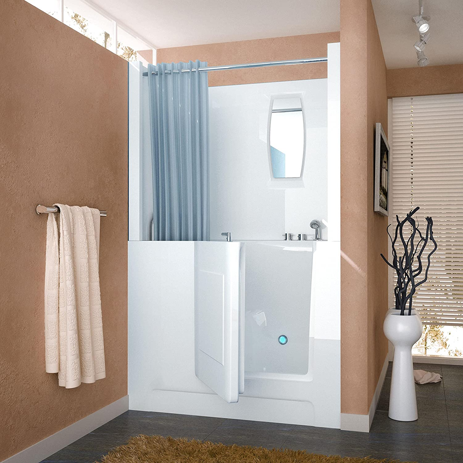 3. Spa World Venzi Rectangular Soaking Walk-In Bathtub