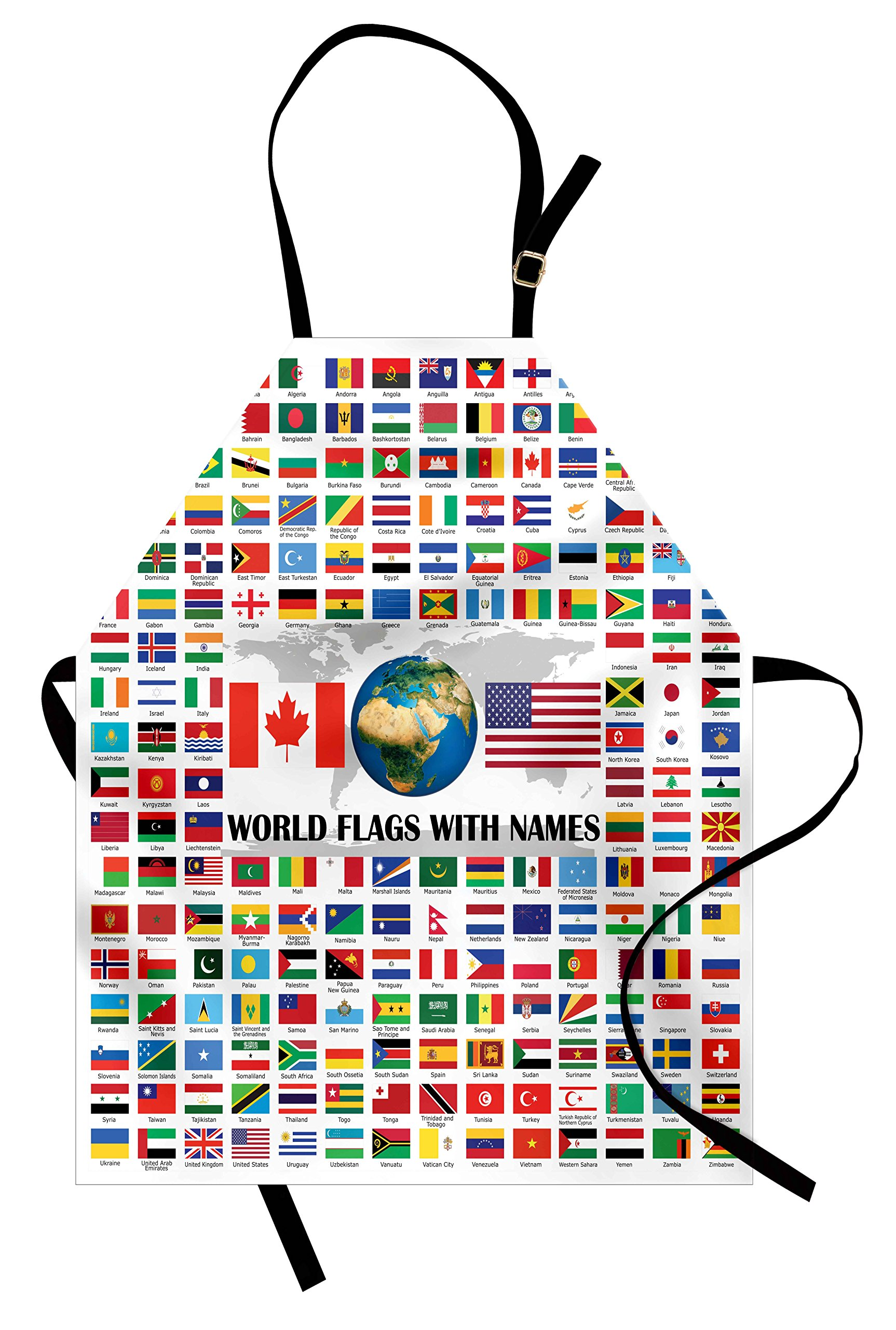 Ambesonne Flags Apron, Big Collection of World Flags with Names Different Countries Nationalities Patriotic, Unisex Kitchen Bib Apron with Adjustable Neck for Cooking Baking Gardening, Multicolor