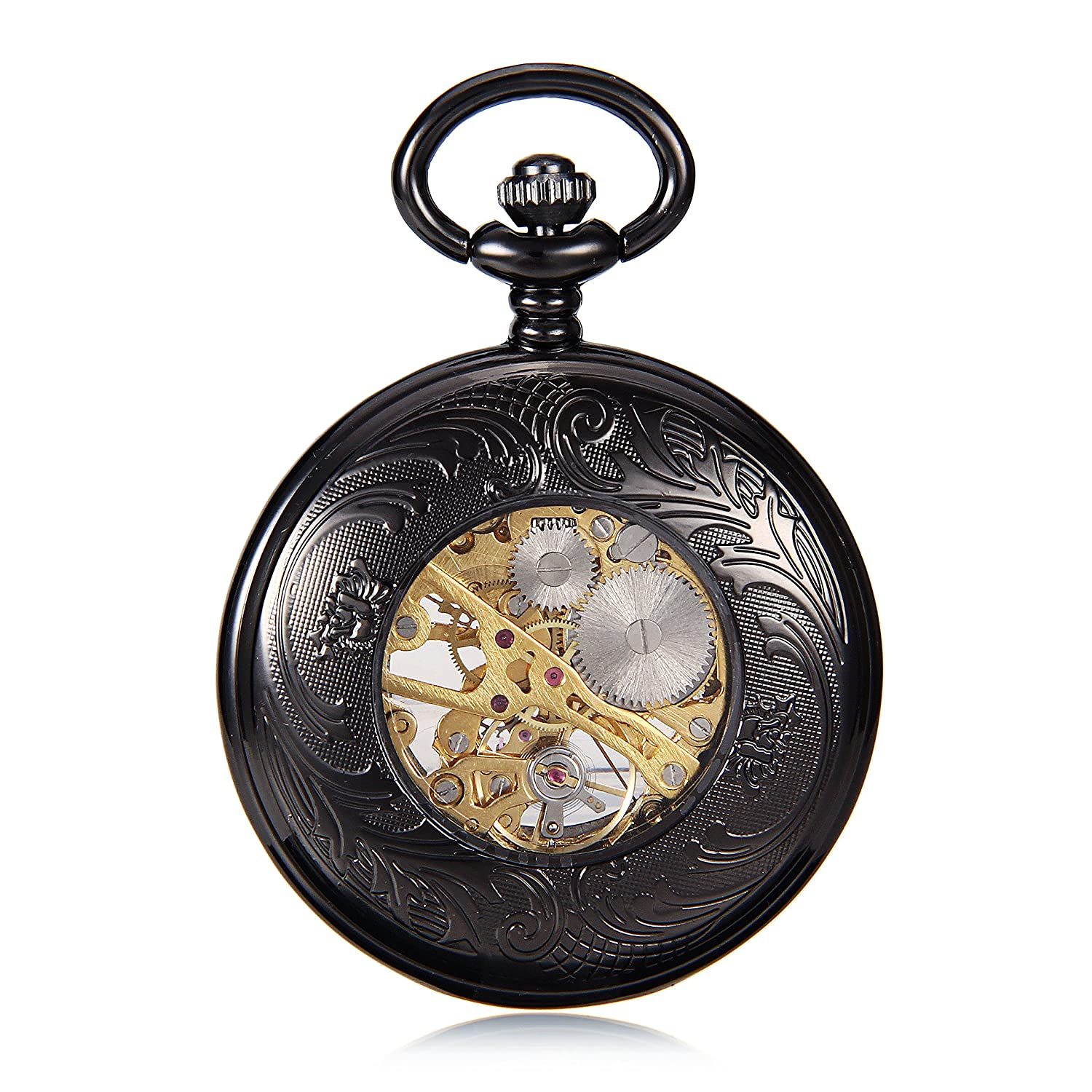 Amazon.com: Classic Elegant Hand Wind Vintage Unique Retro Pendant Classic Mens Mechanical Pocket Watch W/Chain reloj de bolsillo: Watches