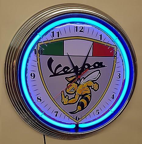 Neon reloj Neon Clock Angry Vespa Cartel con Italiana ...