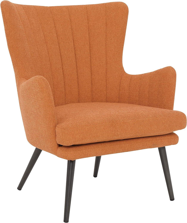 OSP Home Furnishings Jenson Mid-Century Modern Accent Arm Chair, Orange Fabric