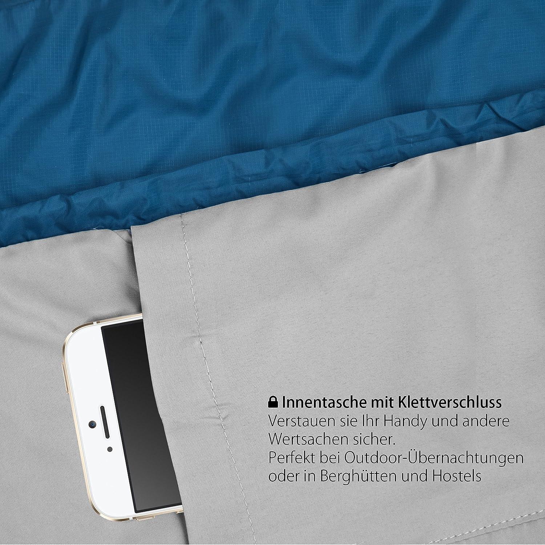 blau Outdoro ultraleichter Schlafsack Idealer Sommerschlafsack leicht Mumienschlafsack f/ür Herren d/ünn und warm Damen Erwachsene kleines Packma/ß