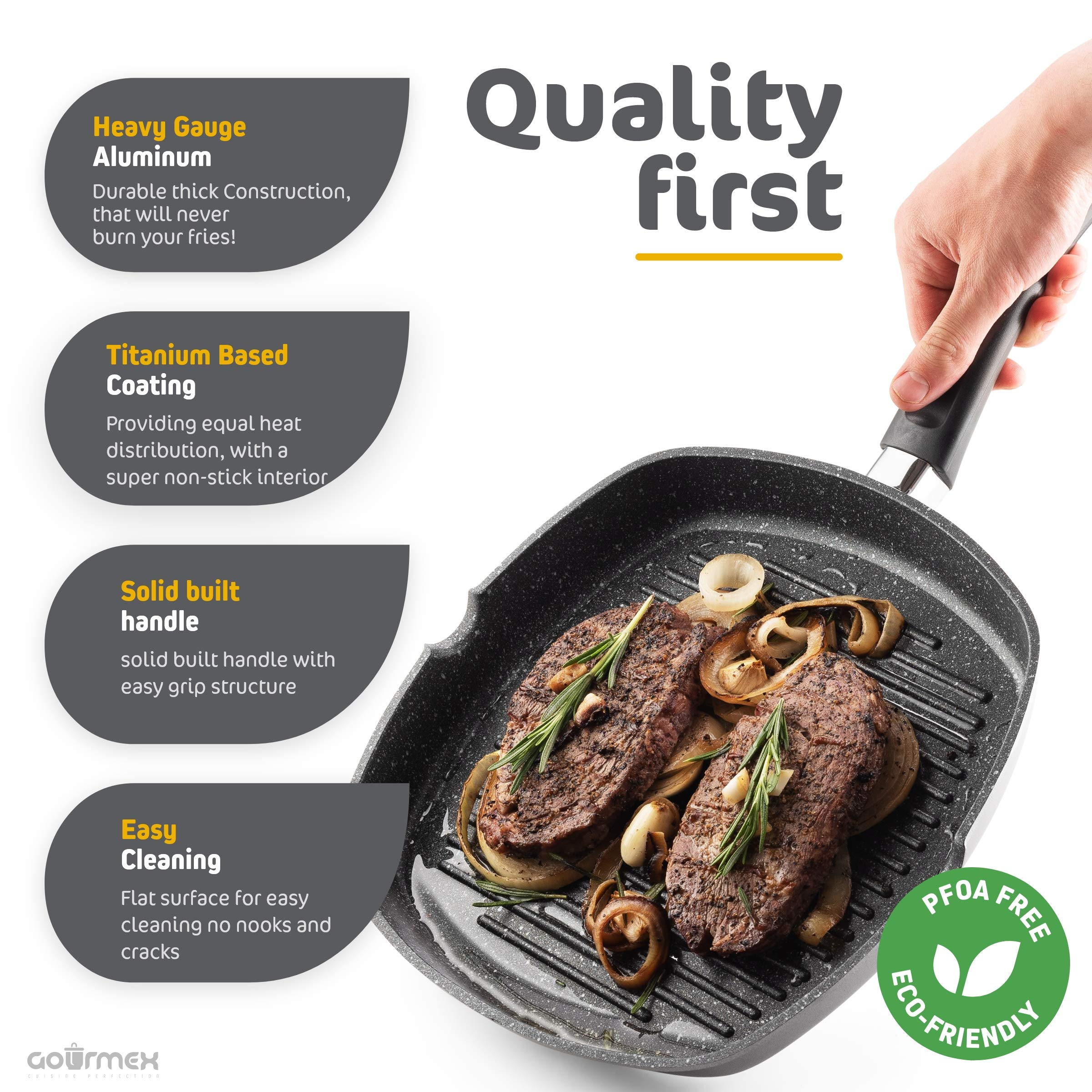 GOURMEX Toughpan Induction Grill Pan, Black, With PFOA Free Nonstick Coating | Great Skillet for Meat, Fish and Vegetables | Perfect for All Heat Sources | Dishwasher Safe Cookware (11'' Grill Pan) by GOURMEX (Image #4)