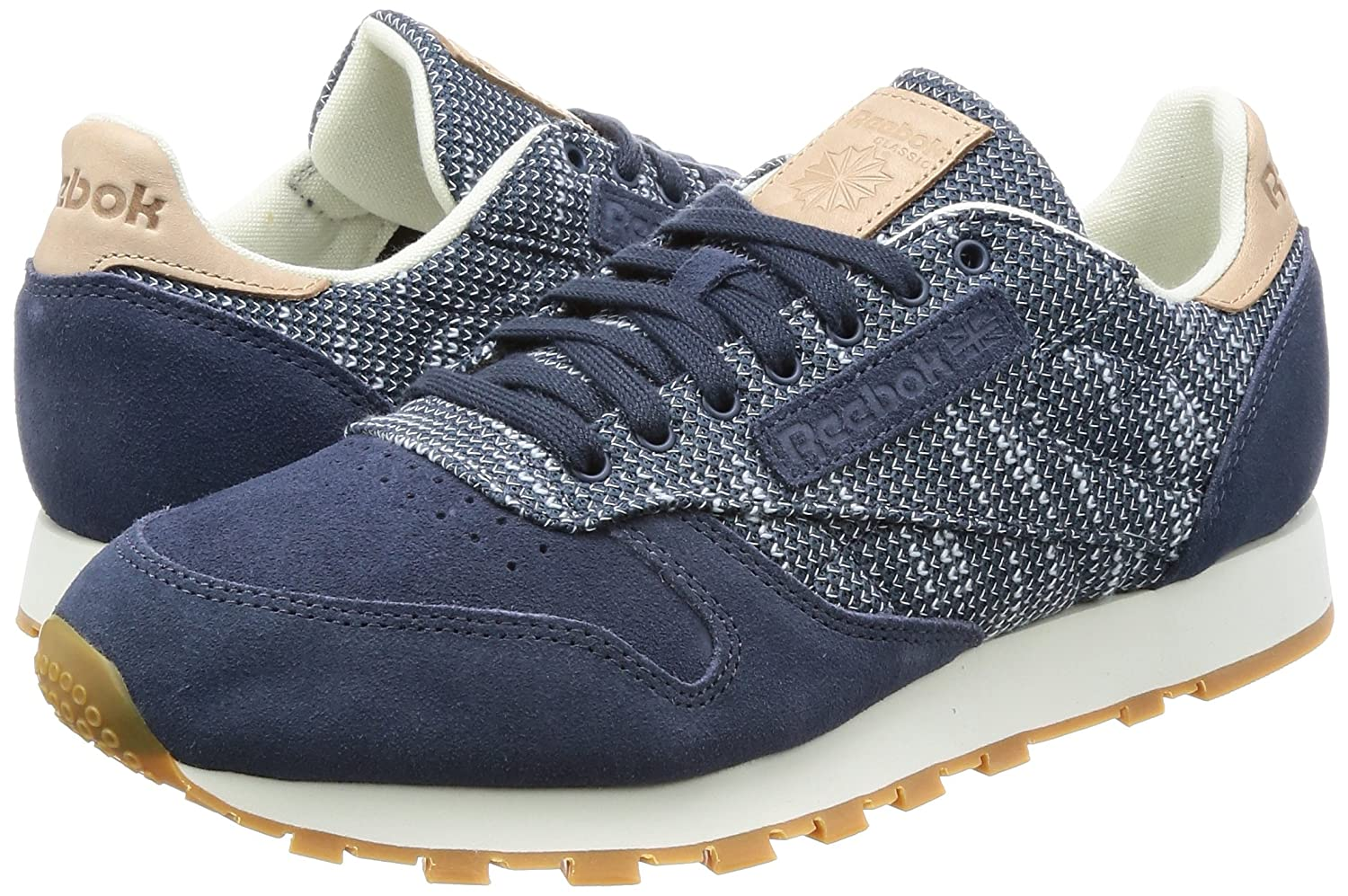 outlet store e169a 4992d Reebok Men s Cl Leather Ebk Fitness Shoes Beige Blue (Smoky Indigo Cloud  Grey Chalk Gum) 6 UK  Buy Online at Low Prices in India - Amazon.in