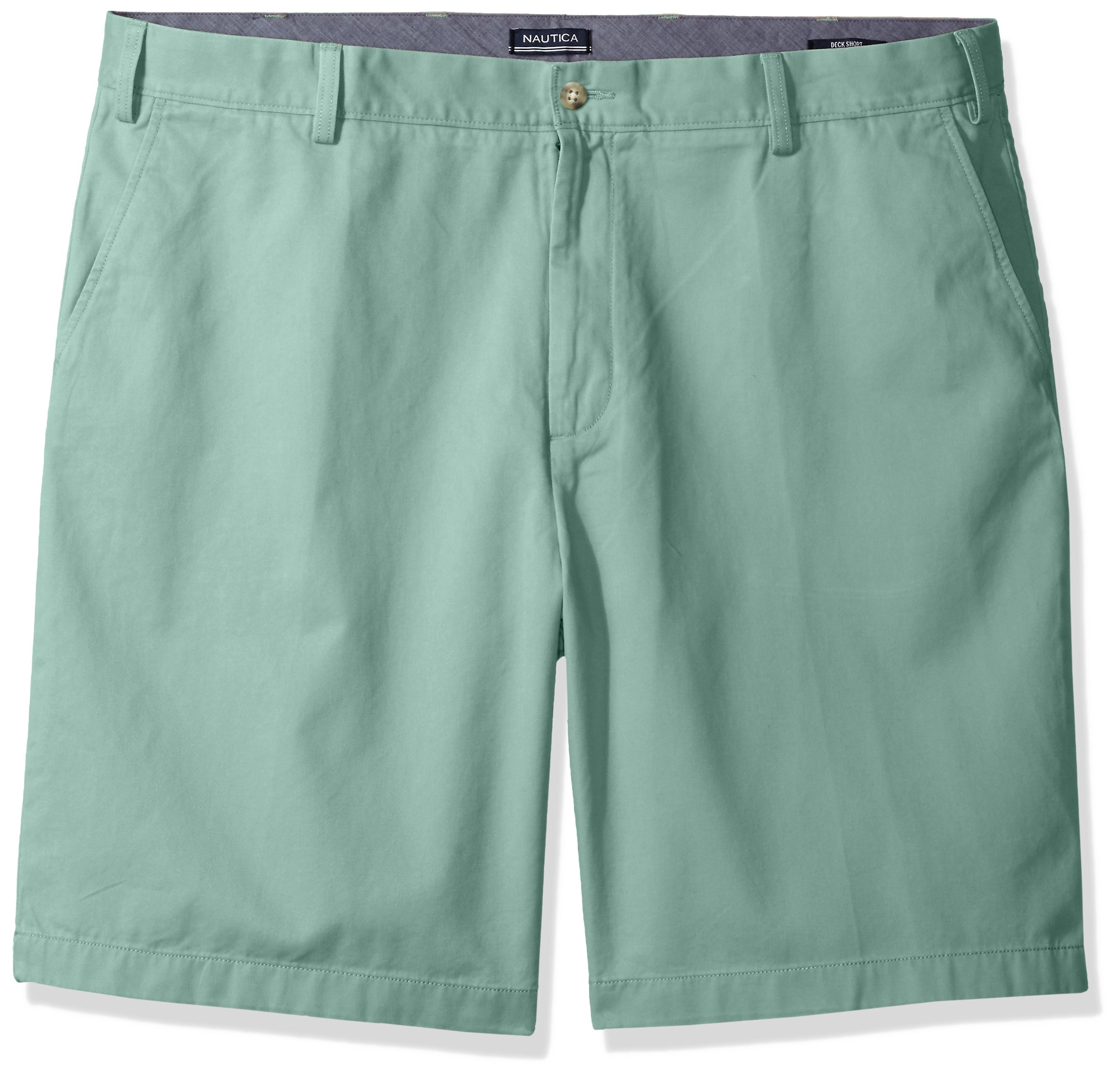 Nautica Men's Big and Tall Cotton Twill Flat Front Chino Deck Short-C92110, Fin Green 48W