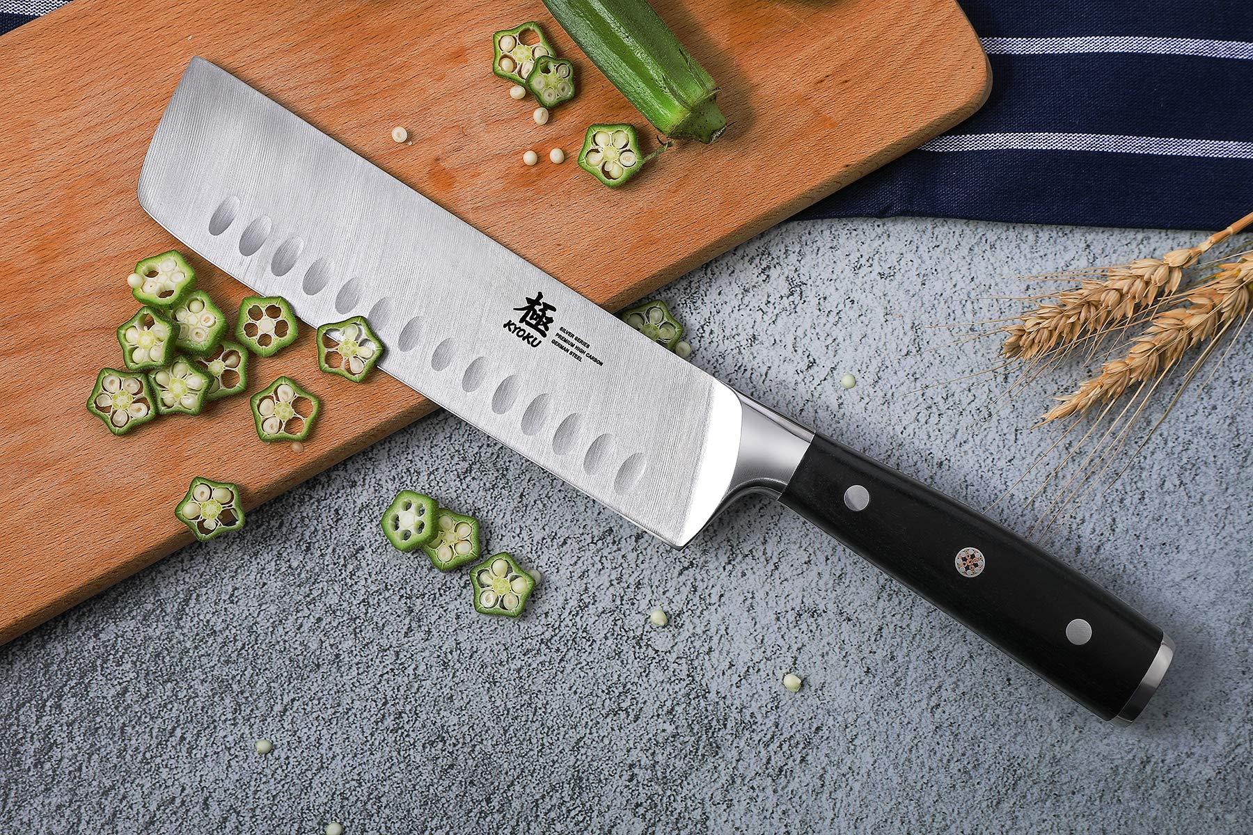 KYOKU Samurai Series - Nakiri Japanese Vegetable Knife 7'' with Sheath & Case - Full Tang - Japanese High Carbon Steel - Pakkawood Handle with Mosaic Pin by KYOKU (Image #3)