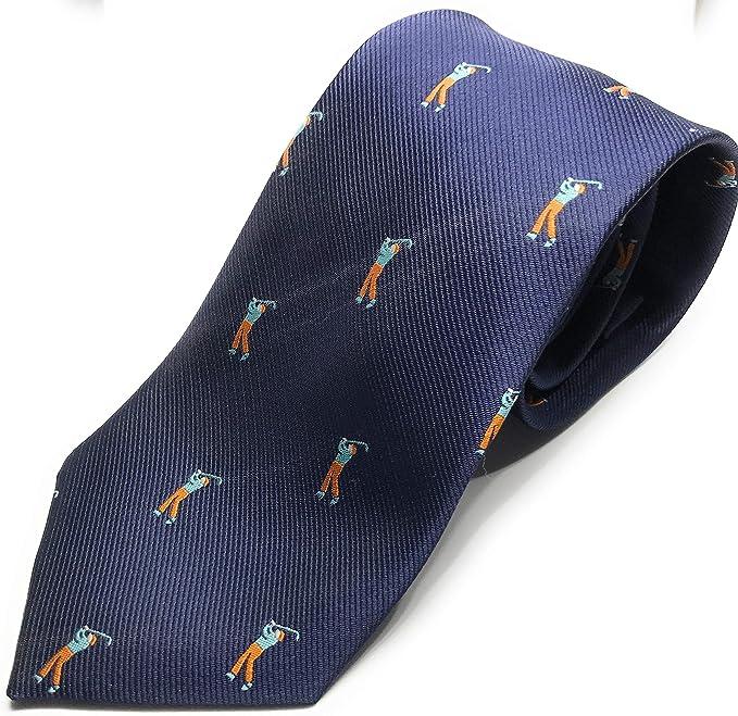 Gentleman: corbata azul de alta calidad con jugadores de golf ...