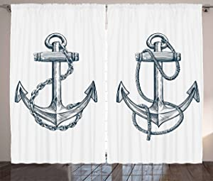 """Ambesonne Anchor Curtains, Vintage Sketch Nautical Element Ship Sailing Travel Theme Chain Rope, Living Room Bedroom Window Drapes 2 Panel Set, 108"""" X 96"""", Teal White"""