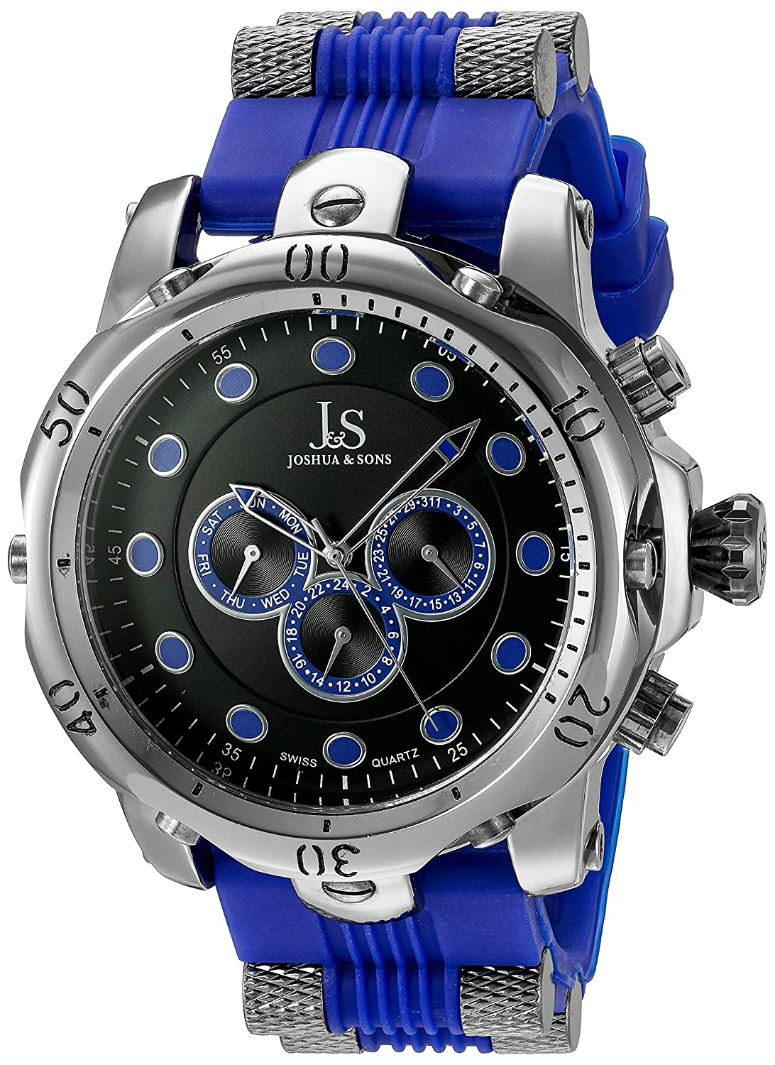 Joshua & Sons Herren Armbanduhr Analog Display Swiss Quarz blau