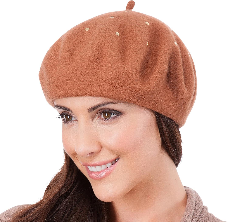 Caramel RJM Ladies Wool Mix Silver Studded Beret Hat