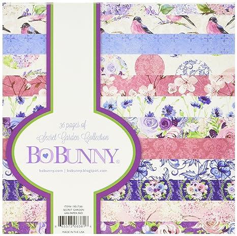 BoBunny Single-Sided Paper Pad 6 X 6 inches Secret Garden 12 Designs//3 Each