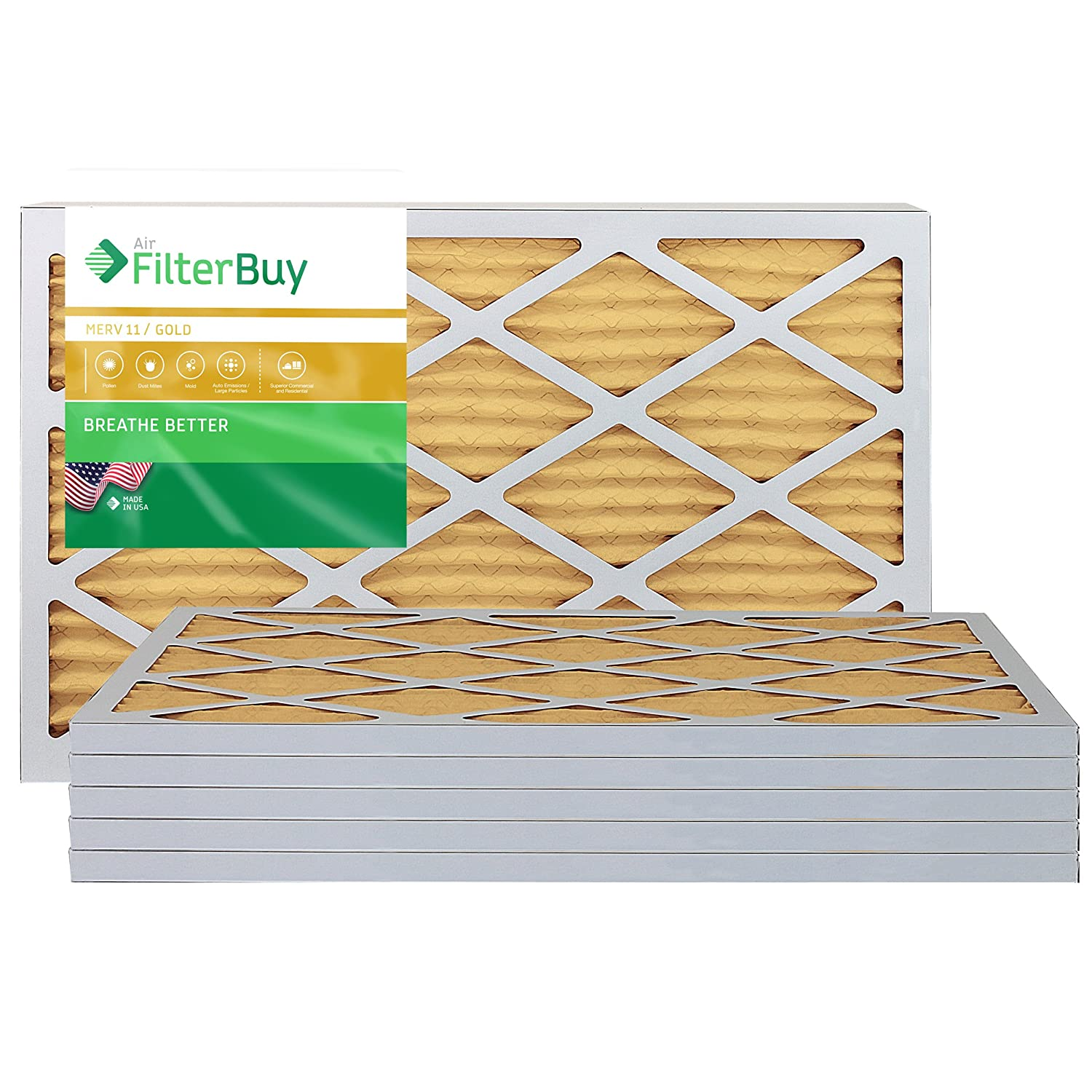 FilterBuy 14x24x1 MERV 11 Pleated AC Furnace Air Filter, (Pack of 6 Filters), 14x24x1 – Gold