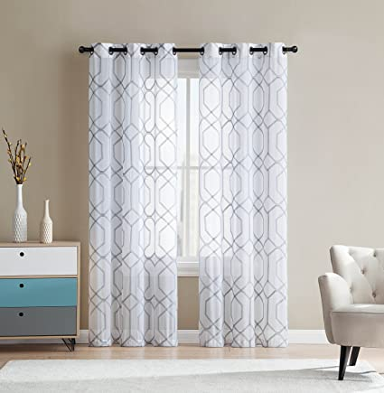 Amazoncom White And Gray Sheer Grommet Window Curtain Panel Pair
