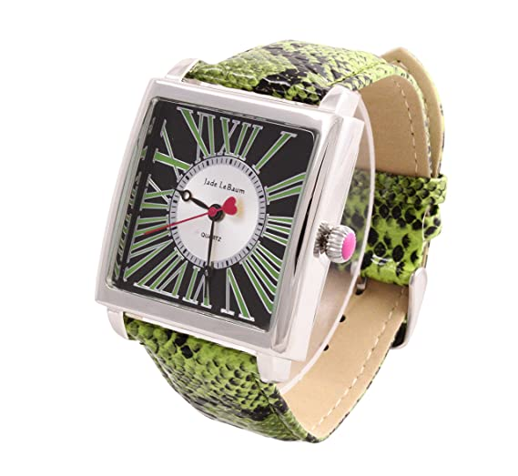 Amazon.com: Womens Square Face Watch Roman Numerals Green Leather Band Reloj de Mujer Jade LeBaum - JB202874G: Jade LeBaum: Watches