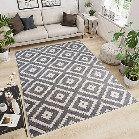 Tapiso Maroko Tapis de Salon Chambre Design Moderne Gris Blanc Géométrique  Carreaux Losanges Fin Poil Court 300 x 400 cm