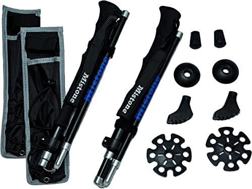 Foxelli Aluminum Trekking Poles Collapsible, Lightweight, Aluminum 7075 Hiking Poles, Walking Running Sticks with Natural Cork Grips, Quick Locks, 4 Season All Terrain Accessories and Carry Bag