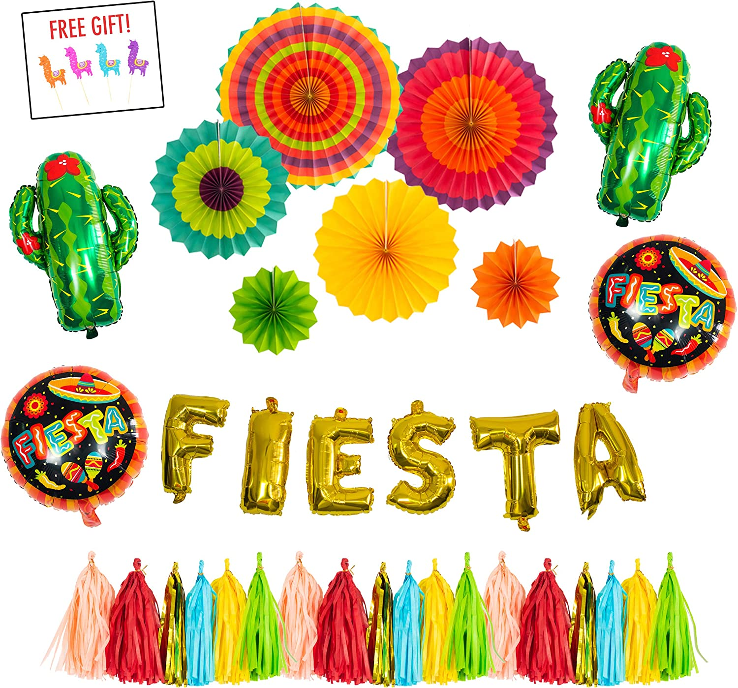FIESTA PARTY Decorations Supplies kit - Cactus decor foil Balloons, Gold Fiesta balloon banner, Fiesta helium balloons, Coco party paper tassel garland, Mexican party style paper fans- Cinco de mayo