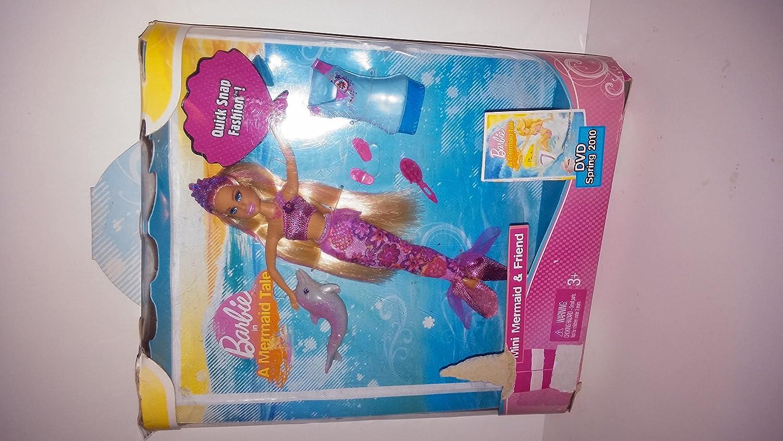 Barbie - T3364 - A Mermaid Tale - Quick Snap Fashion - Barbie als Mini Meerjungfrau (ca. 16 cm) - mit Quick-Snap T-Shirt, Delfin und Kamm