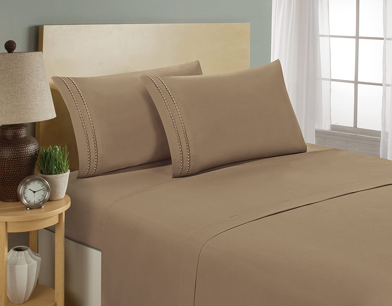 Grey Queen Elegant Comfort Three-Line Design 1500 Thread Count Egyptian Quality Wrinkle and Fade Resistant 4-Piece Bed Sheet set Luxury Bed Sheet Set on Deep Pocket