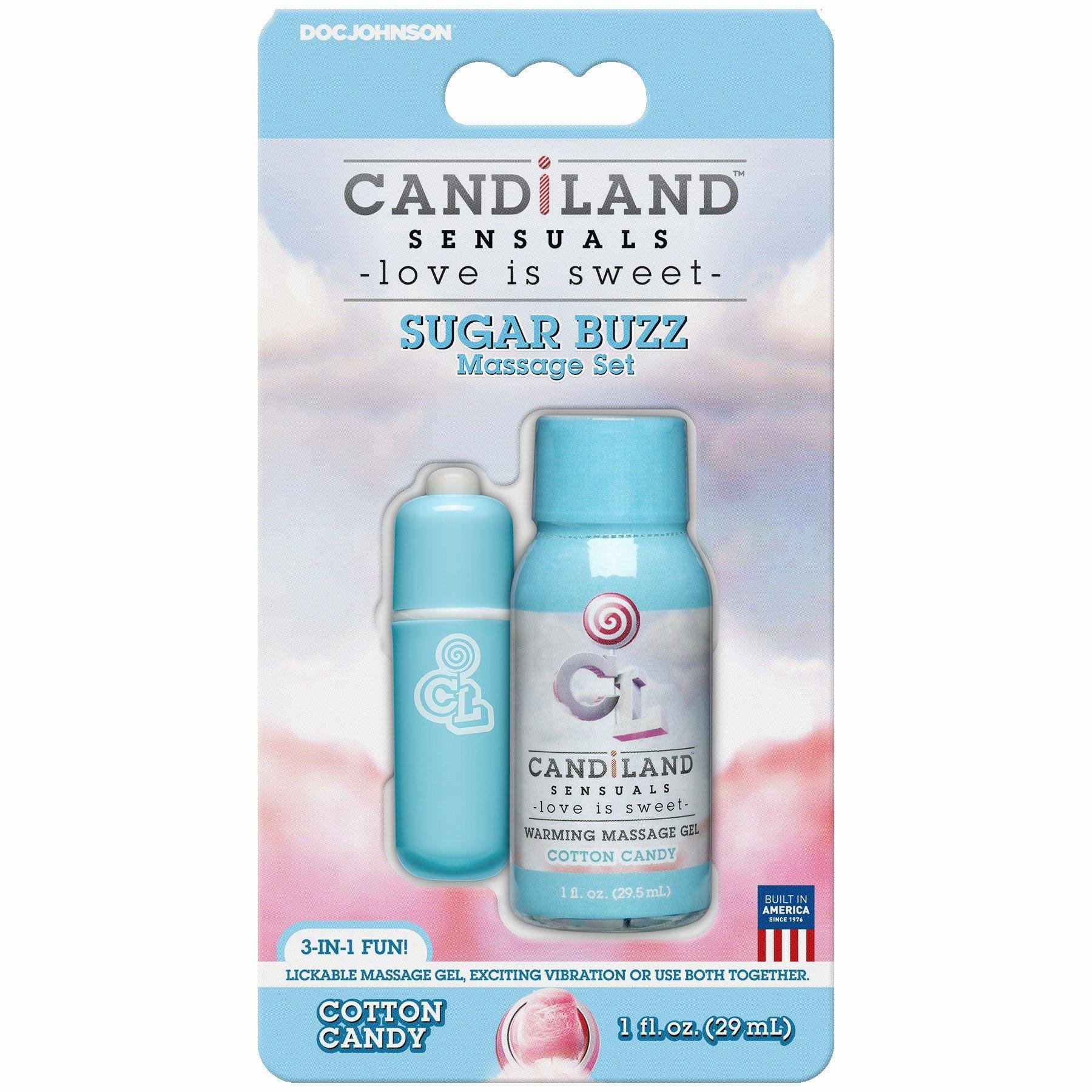 Doc Johnson Candiland Sensuals Sugar Buzz Massage Set, Cotton Candy by Doc Johnson