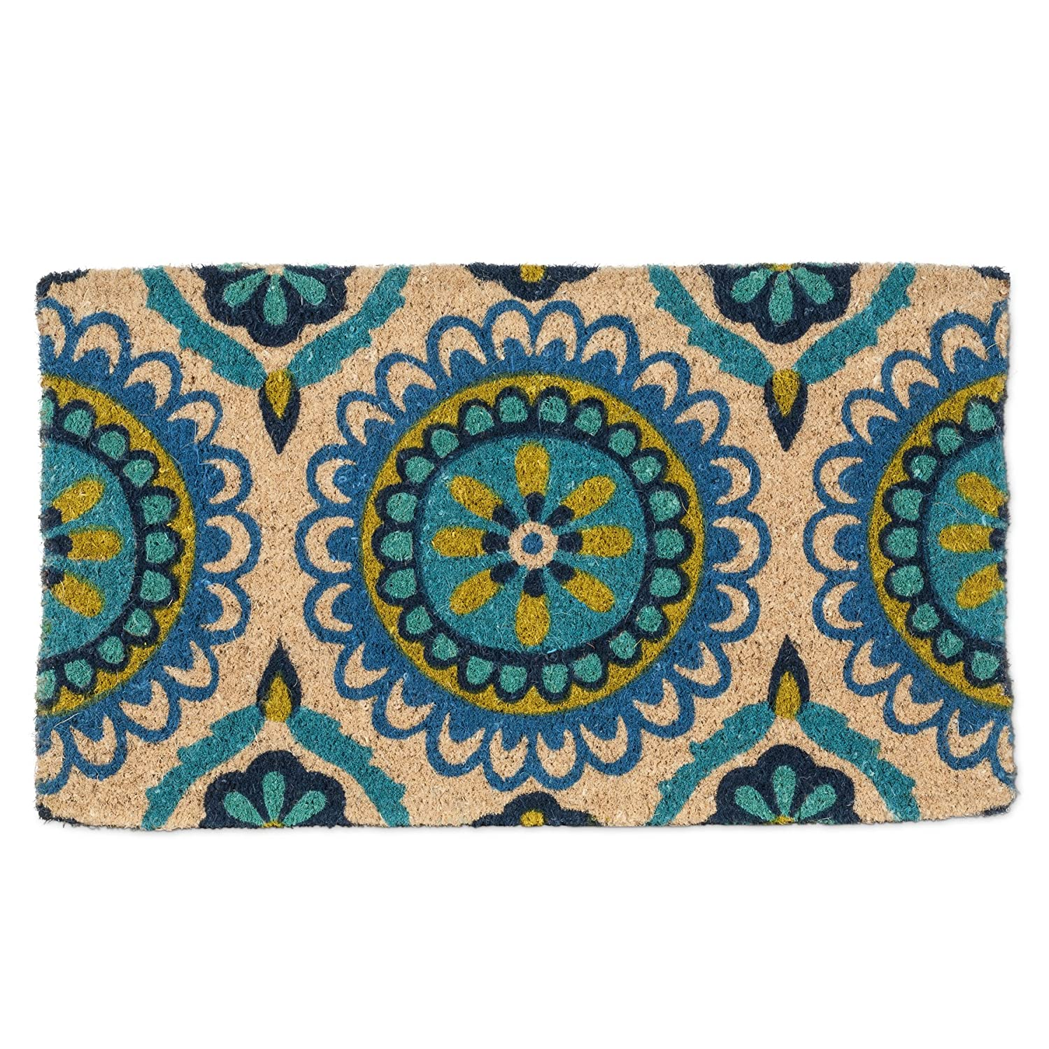 bluee and Green Tile Abbott Coco Palm Fibre Doormat