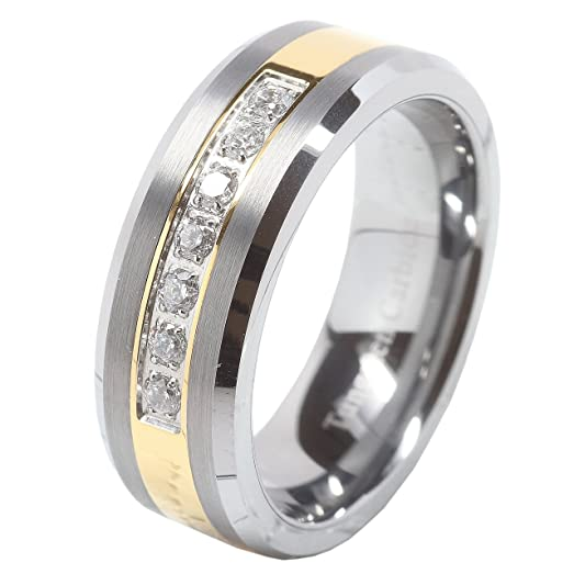 Mens Tungsten Ring Cz Inlay Gold Plated Titanium Color Wedding Band Beveled Edge Size 8