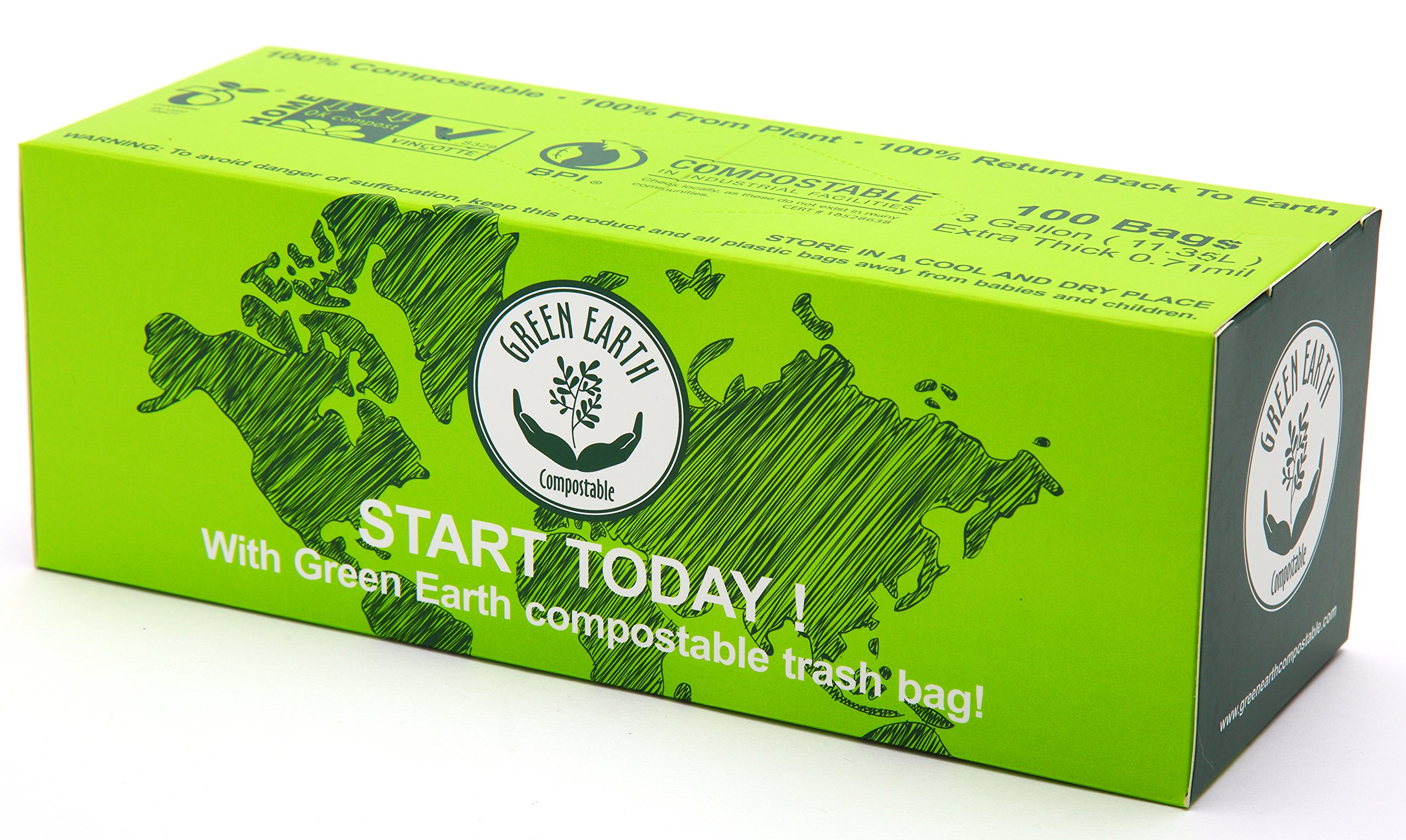 Green Earth CompostableBiodegradable Food Scraps Waste Kitchen Trash Bags, 900-Count, 3 Gallon, Superior Strength 0.71 Mils Thickness, US BPI, Europ VINCOTTE OK Compost HOME & ASTM6400 Certificated
