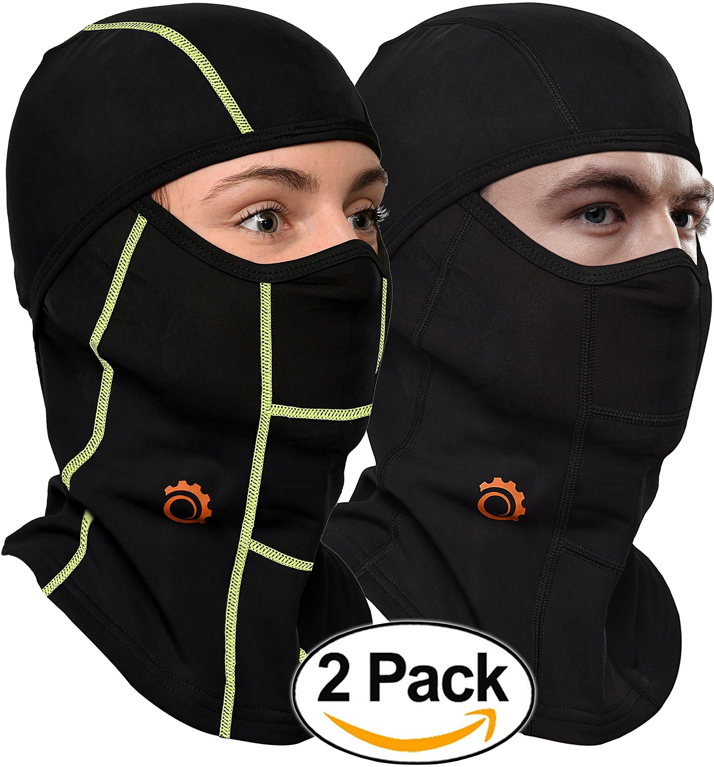 Face Mask Motorcycle Balaclava (Black/Green + Black - 2 Pack)