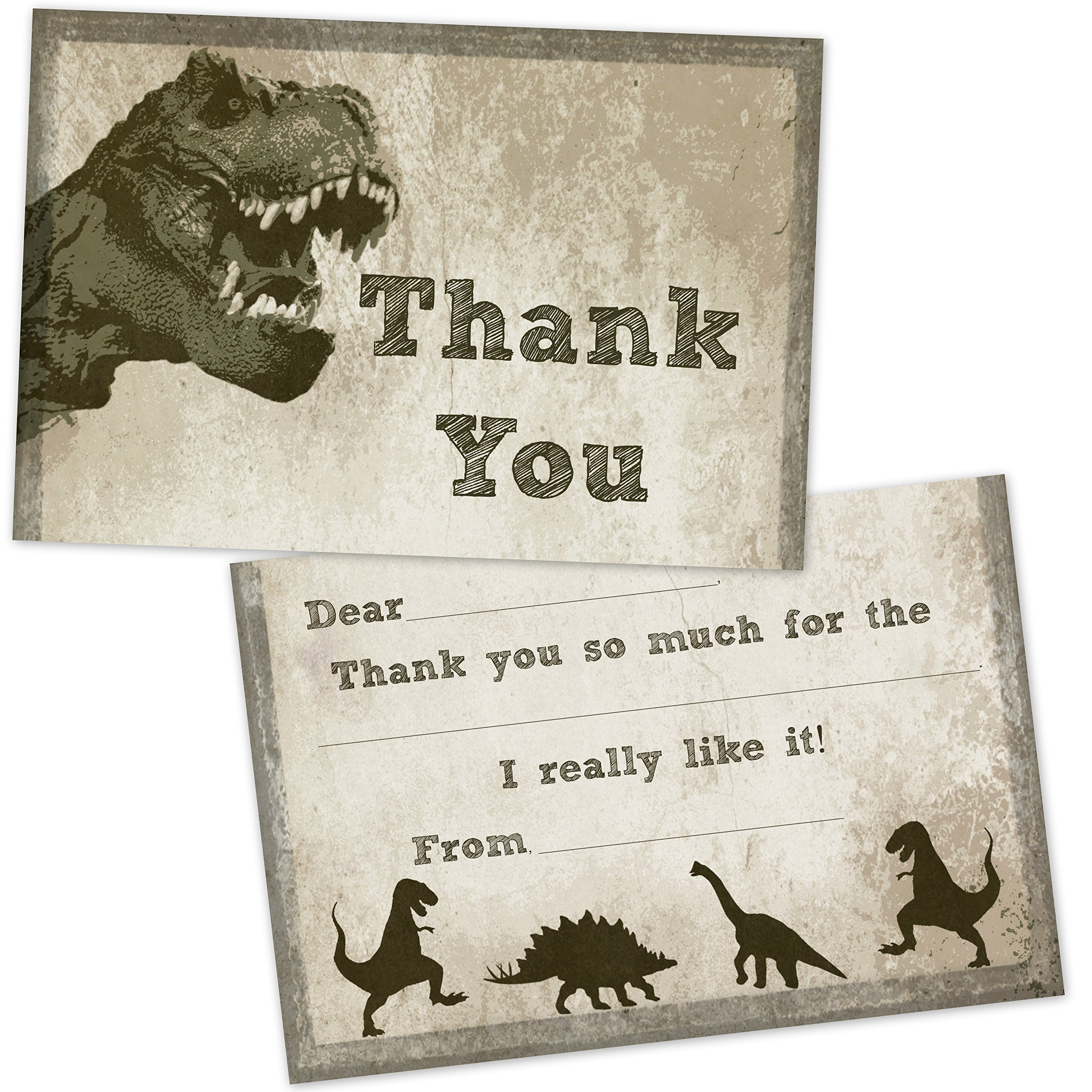 T-Rex Dinosaur Fill in Thank You Cards for Kids Birthday (20 Count with Envelopes)