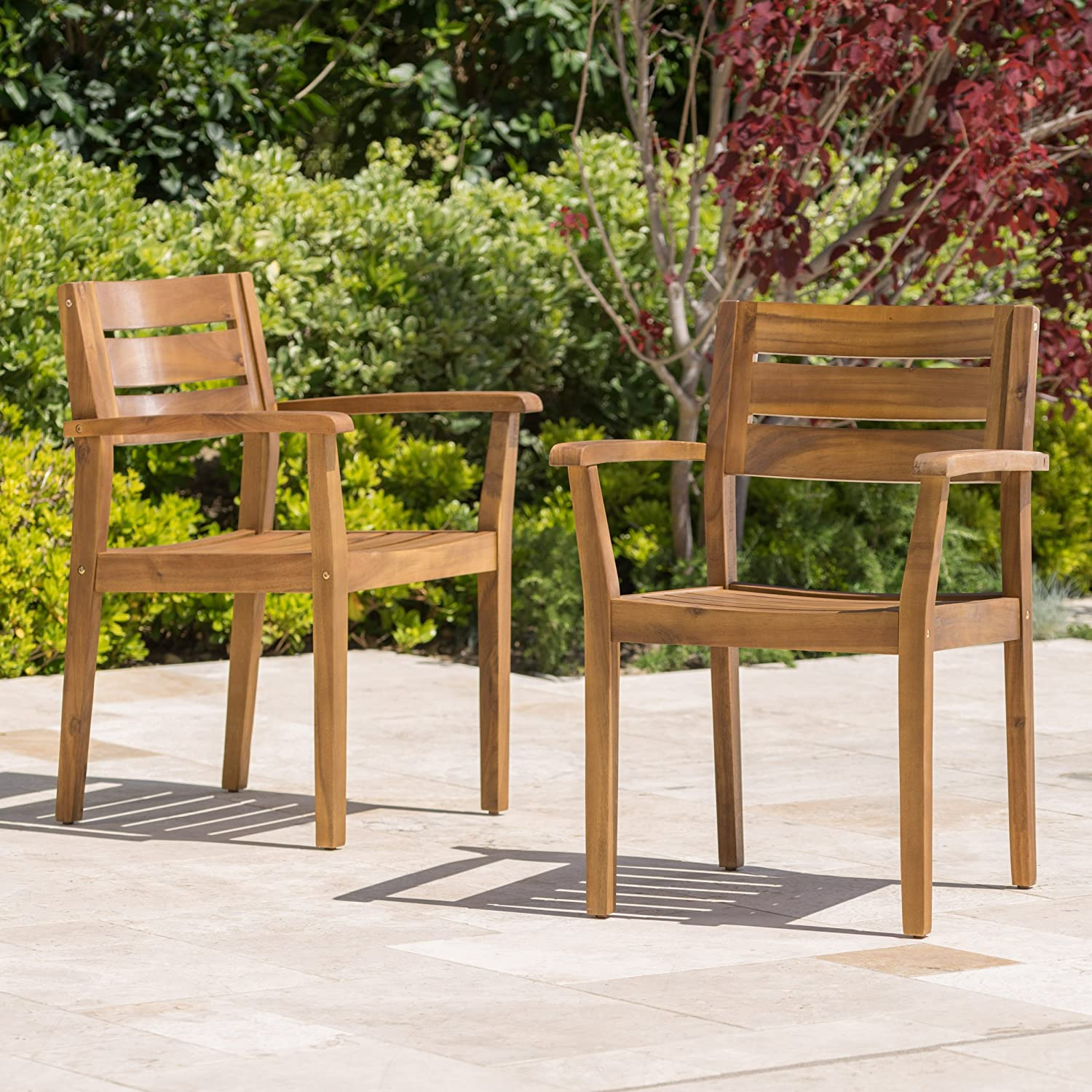 Amazon com stanyan patio furniture outdoor acacia wood patio dining chairs set of 2 garden outdoor