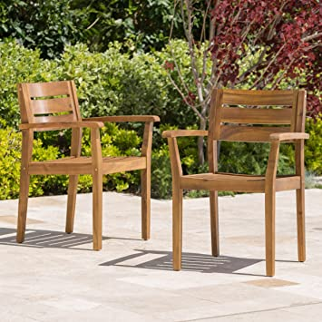 Stanyan Patio Furniture ~ Outdoor Acacia Wood Patio Dining Chairs (Set Of 2)