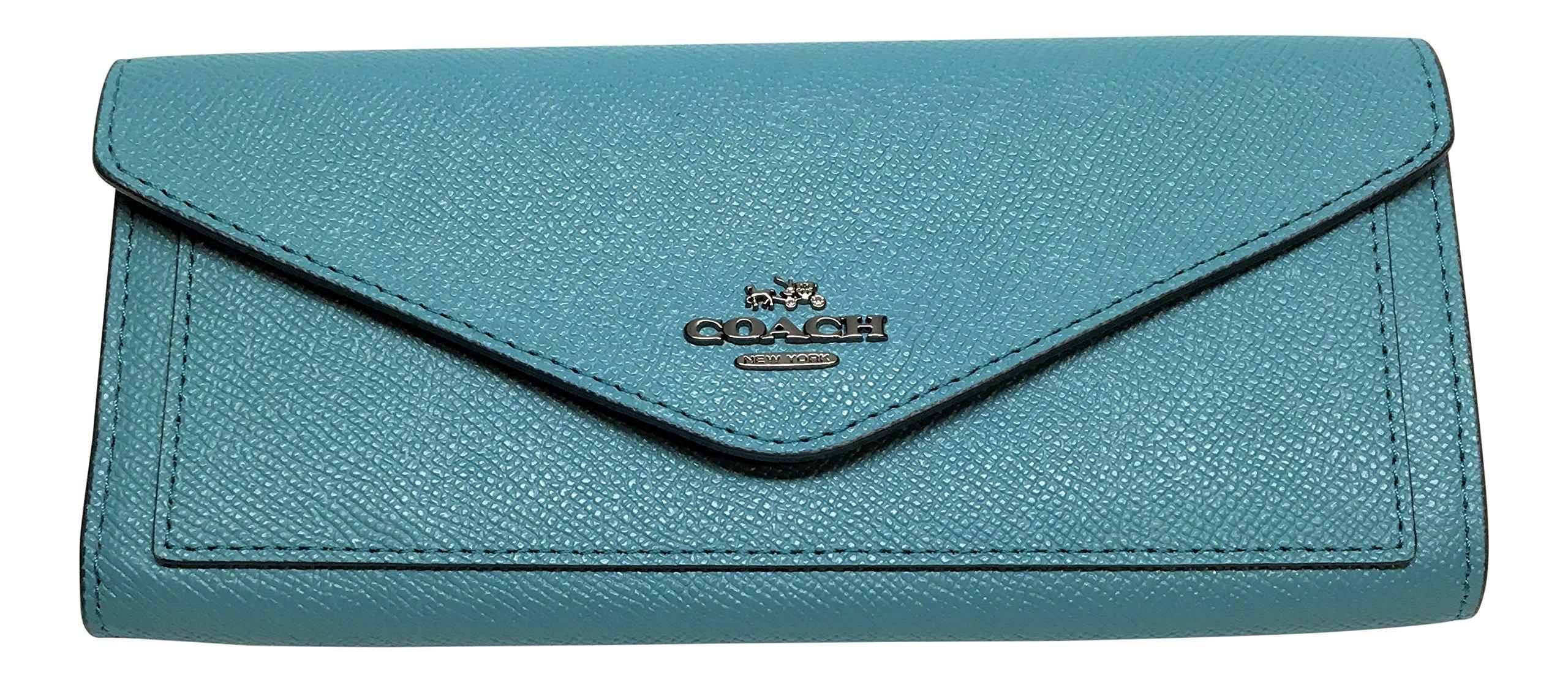 Coach Crossgrain Leather Soft Wallet Ocean 57715