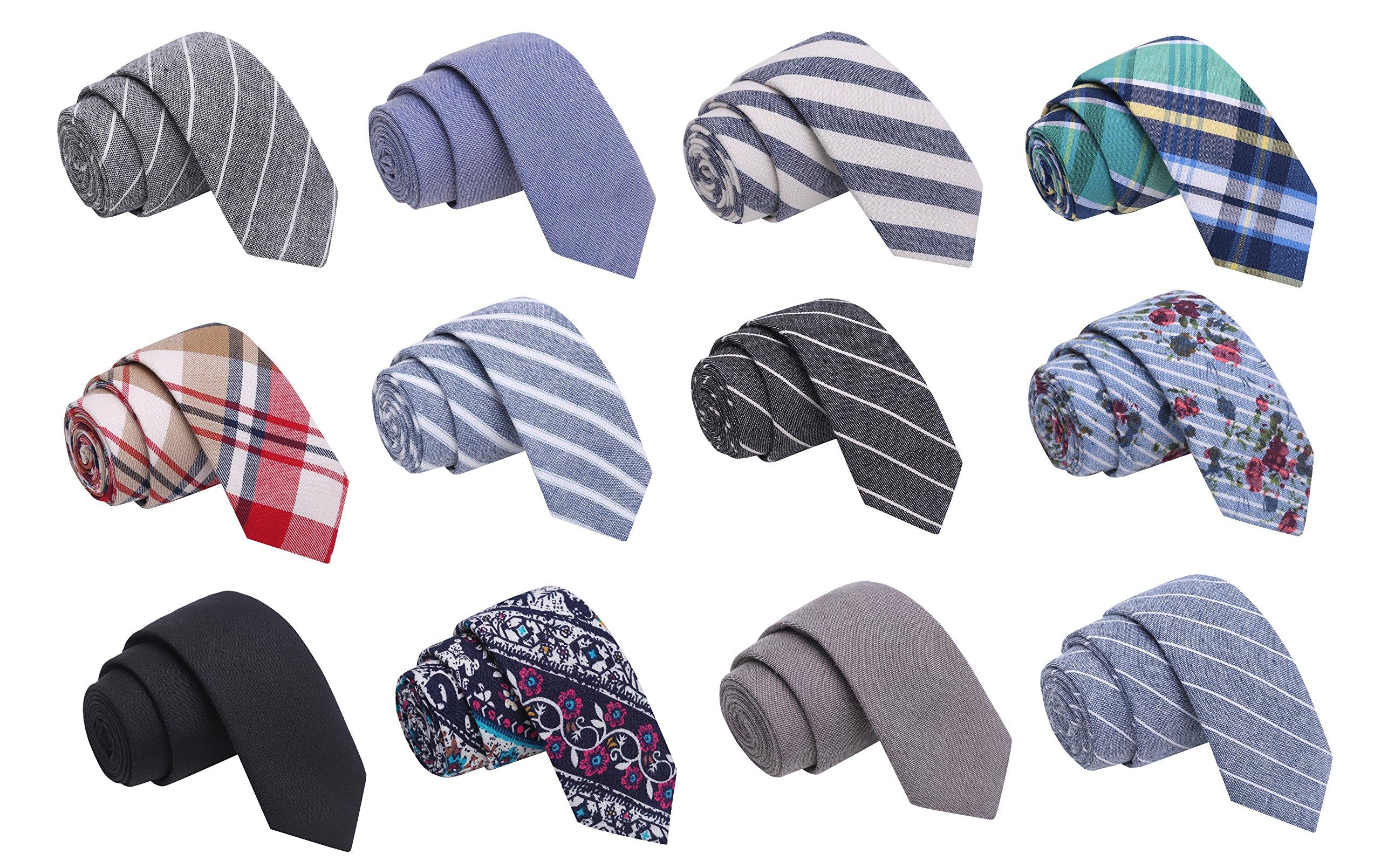 Skinny Tie Madness Men's Fashion Bundle of 12, 2'' Skinny Ties - Color Pop Bundle