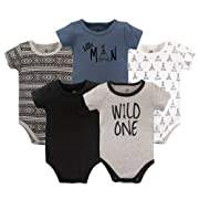 Yoga Sprout Unisex Baby Cotton Bodysuits, Wild One 5Pk Short Sleeve, 3-6 Months (6M)