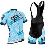 FDX Pro-Maglia da ciclismo uomo a mezza manica da bici Team-Maglia da corsa, in Gel, con shorts, imbottita, set