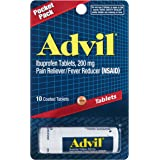 Advil Pain Reliever/Fever Reducer, 200mg Ibuprofen (10-Count Coated Tablets, Pack of 12)