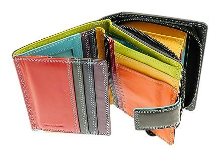 Señoras billetera de cuero suave y Tenedor del monedero de la tarjeta de crédito con el monedero de la moneda - con capacidad para 8 tarjetas - negro ...