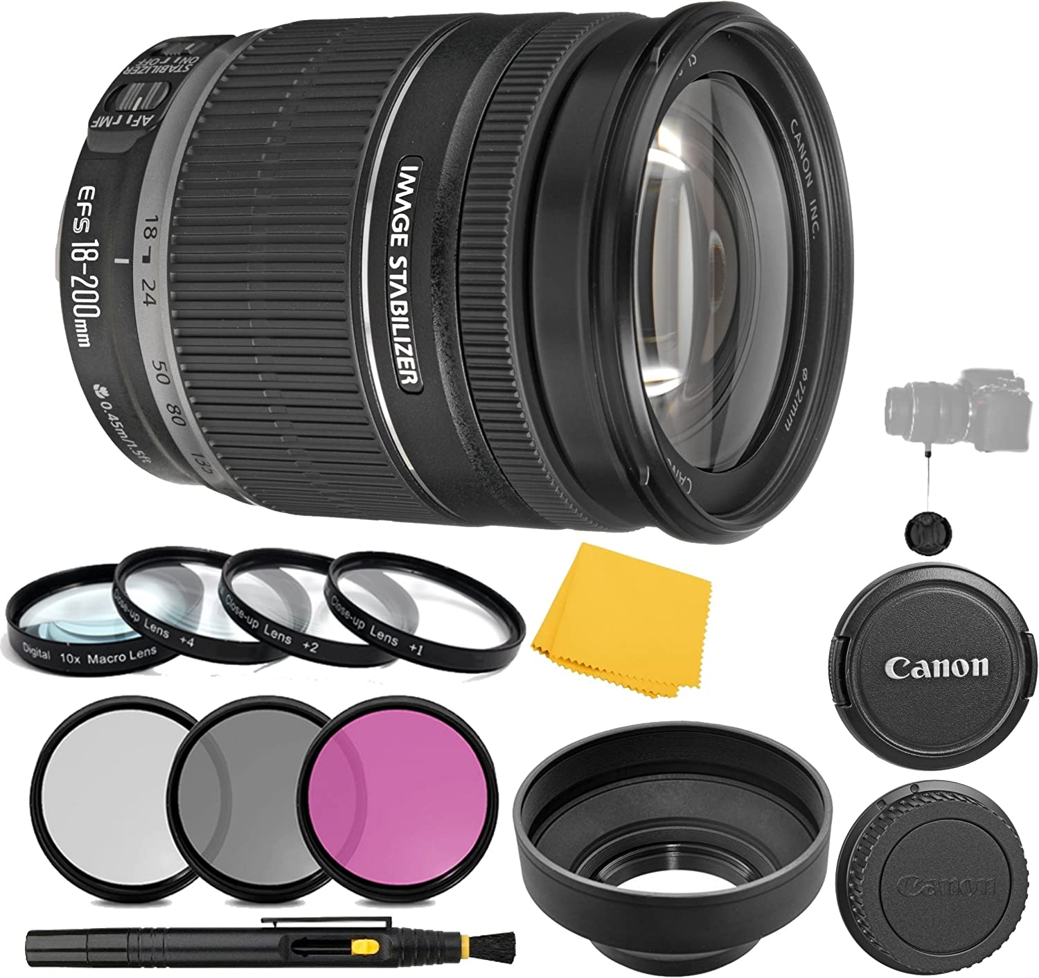 Canon EF-S 18-200mm f/3.5-5.6 is Lens + 3 Piece Filter Set + 4 Piece Close Up Macro Filters + Lens Cleaning Pen + Pro Accessory Bundle - 18-200mm is: Image Stabilizer Lens - International Version