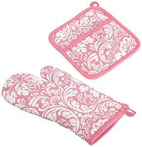 "DII Cotton Damask Oven Mitt 12 x 6.5"" and Pot Holder 8.5 x 8"" Kitchen Gift Set, Machine Washable and Heat Resistant for Cooking and Baking-Pink"
