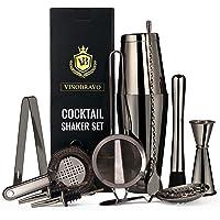 11-Piece Bartender Kit Boston Cocktail Shaker Bar Set by VinoBravo : 2 Weighted Shaker Tins, Strainer Set, Double Jigger, Bar Spoon, Ice Muddler & Tong, 2 Liquor Pourers & Recipe Guide …