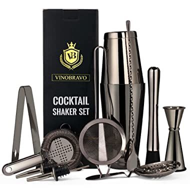 Vinobravo 11-Piece Black Boston Cocktail Drink Shaker Set Made from 304 Stainless Steel Bar Tools Bartender Kit with Recipe of 30 Classic Mixing Drinks