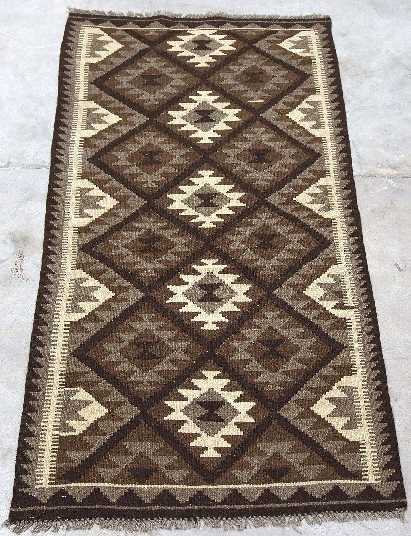 Genuine Afghan Kilim Rug Handwoven Using 100 Natural Un Dyed Wool Dark Brown Tribal Rug 98x194cm Amazon Co Uk Kitchen Home