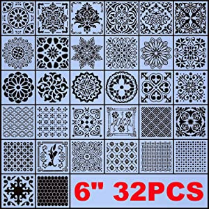 "AK KYC Stencils Mandala Painting Stencil Stencils for Painting (6x6 inch Small Size) on Wood Wall Floor Tile Fabric Furniture Decor Mandala Dotting Tools Reusable (Style 4(6"" 32PCS))"