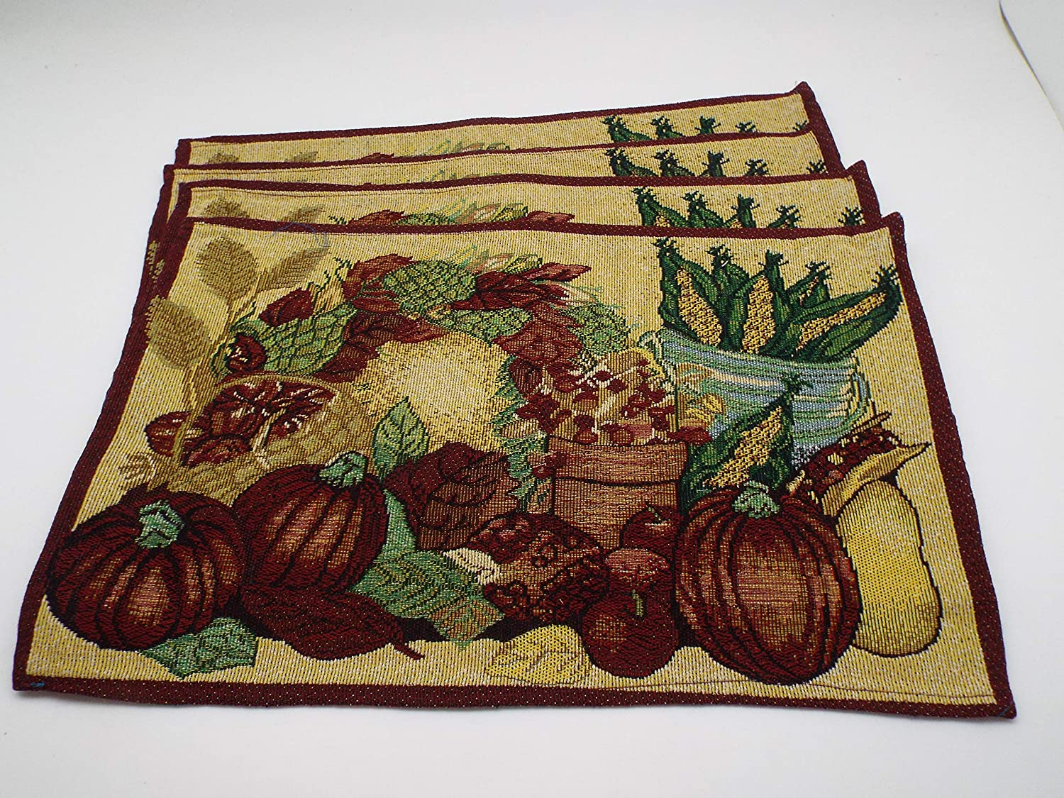 Bristola Home Designs Harvest Theme Tapestry Table Placemats - Set of 4-13 x 19 inches