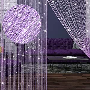 4 Pieces String Curtains Glitter Fringe Curtains for Window 79 x 39 Inch Door String Curtain Divider Strip Tassel for Wedding Living Room Bathroom Coffee Shop Restaurant (Purple)