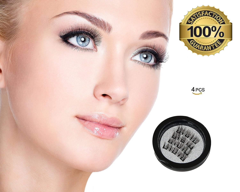 Fake Ultra Soft Magnet Eyelashes Four Quality Thin Pcs Perfect Lash Fiber Set Full Eyes Cover Natural Style Triple Magnet Handmade Eyelashes PAJP
