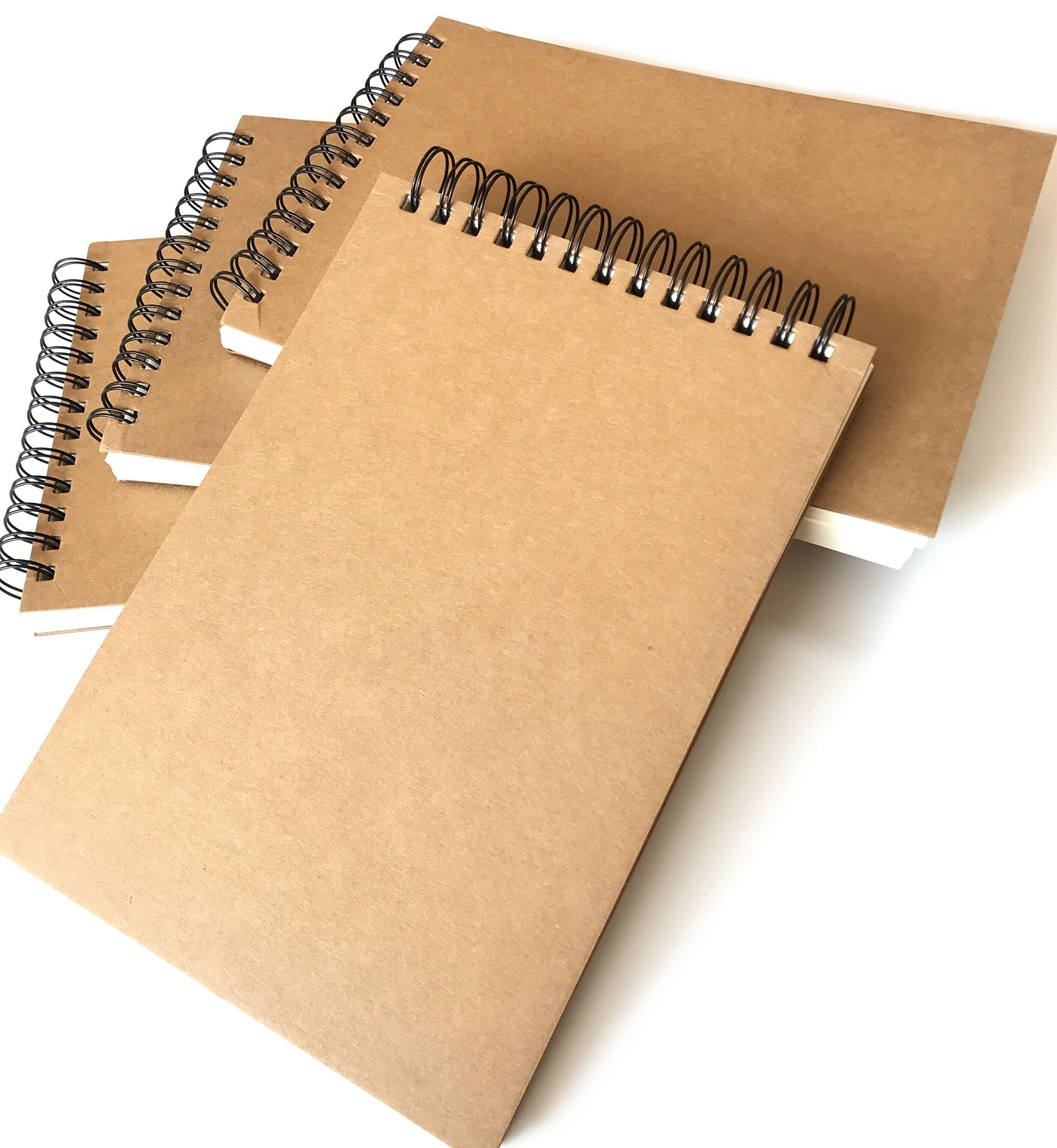 VEEPPO Super Thick Spiral Bound Notebooks 700g Hard Kraft Cover 160g Thick Paper Super Big Ring Wire Bound Blank Sketch Notebook (4 Pack B5-18.5 x 26cm)