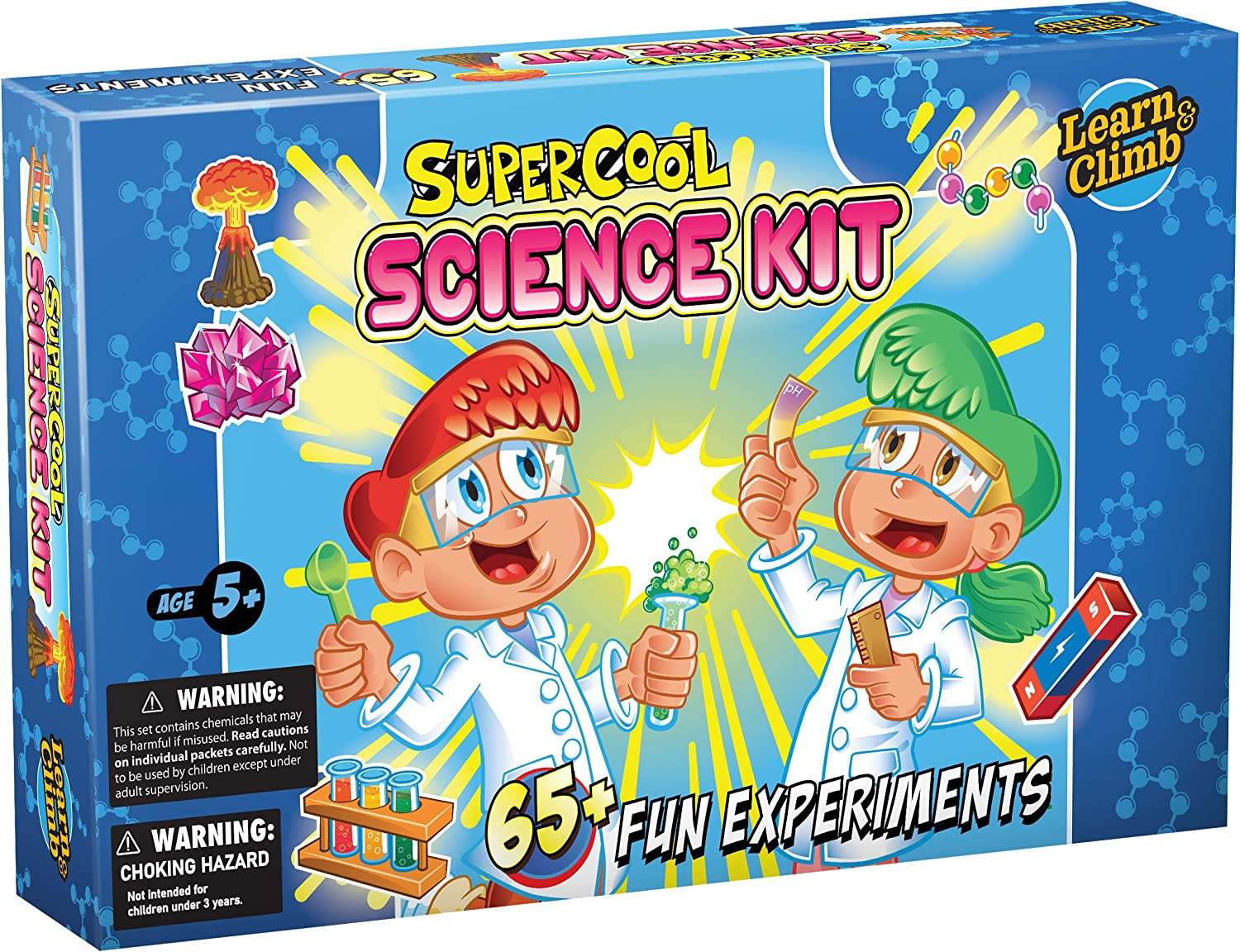 Learn & Climb Science Kit for Kids - Set Includes Over 65 Science Experiments + Scientist Name tag!