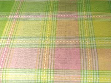 EC B60 Easter Spring Pastel Plaid Tablecloth 60 Round 100% Cotton Fresh  Green Pink
