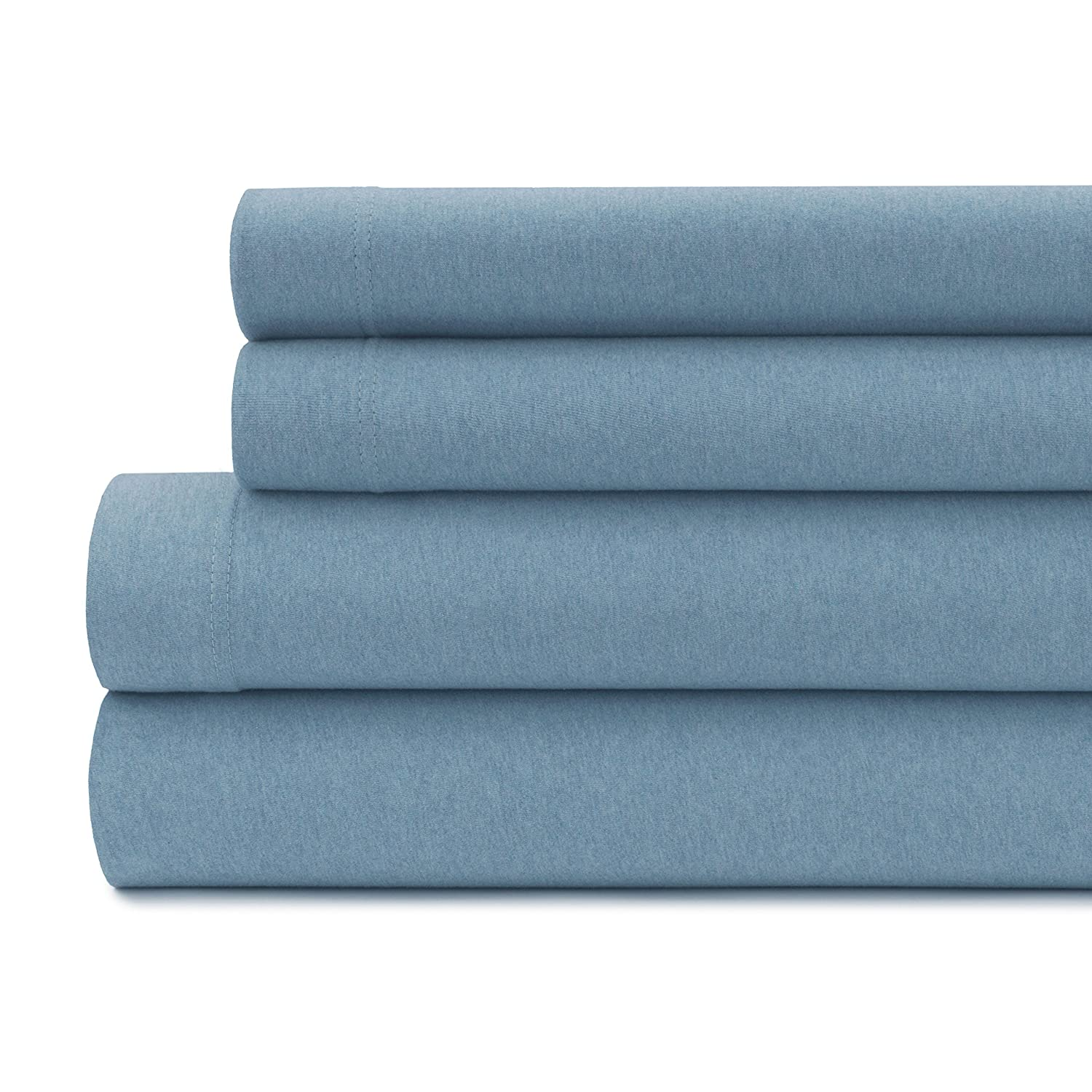 150 GSM Deep Pocket Queen, Blue Chambray Briarwood Home Jersey Sheet Set World Home Fashion 100003 Wrinkle /& Fade Resistant Yarn Dyed Heather Sheets 100/% Cotton Super Soft /& Luxurious Bedding Breathable